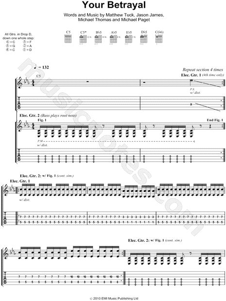 bullet for my tabs bullet for my quot your betrayal quot guitar tab in c