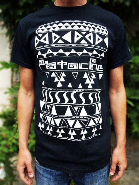 aztec t shirt black top mens boys screen printed clothing folk fabric mexican