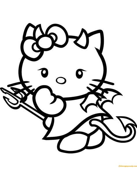 hello kitty coloring pages with crayons hello kitty devil coloring page free coloring pages online