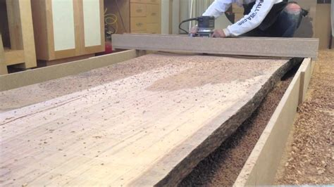 woodworking how to thickness planing an 800 pound slab of eucalyptus
