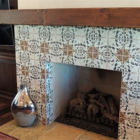 patterned fireplace tiles fireplaces tile and fireplace surrounds on pinterest