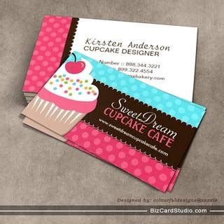 cupcake business card template and whimsical cupcake bakery business cards