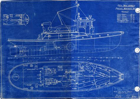 blueprint designer russel brothers ltd steelcraft winch boat and warping tug builders from owen sound ontario