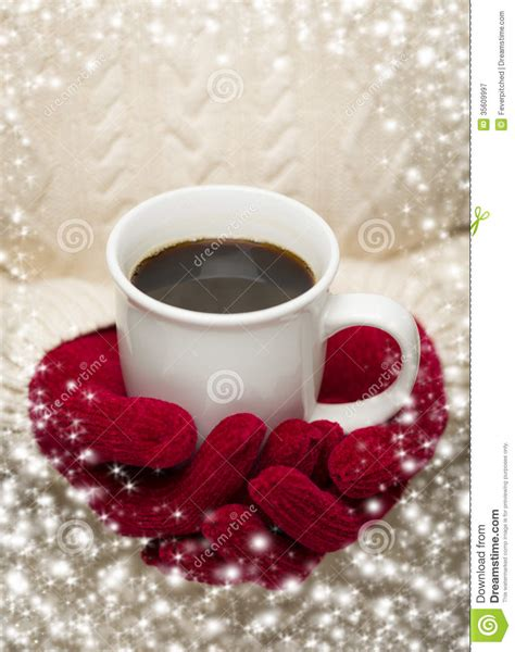coffee winter wallpaper woman in sweater with red mittens holding cup of coffee