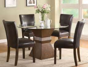 Kitchen Dining Furniture tone finish round glass top dining table with chair in dining room