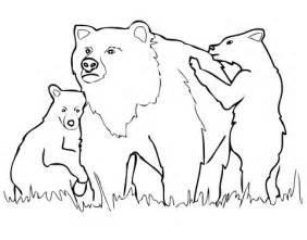 grizzly bear mother and cubs coloring page supercoloring com
