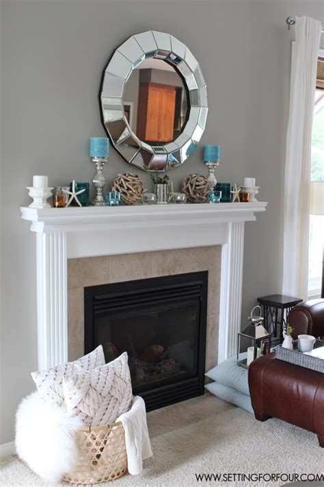 Decorating Fireplace Mantel by Mantel Decor Ideas Blue Taupe And White Palette