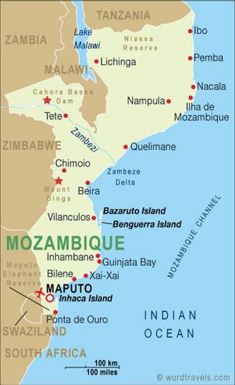 map of mozambique cities mozambique map