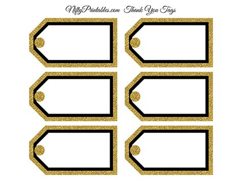gold tags blank favor tags black gold glitter nifty printables