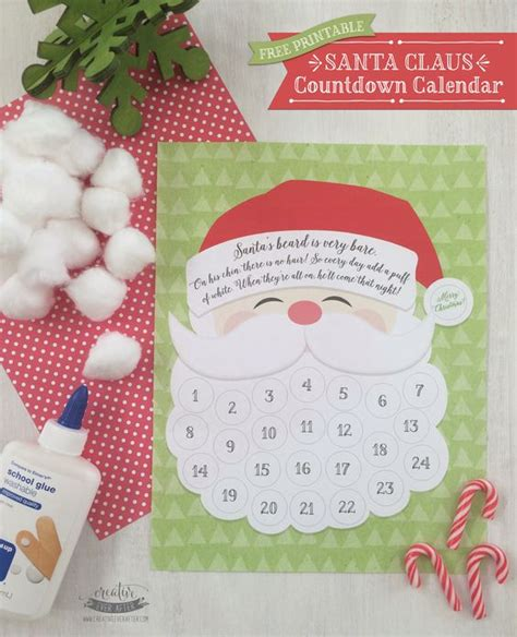 printable santa claus advent calendar advent calendar and beards on pinterest