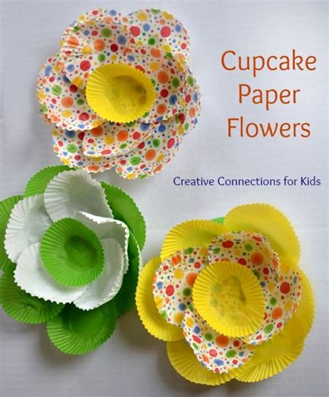 Paper Cupcake Craft - cupcake papers paper flowers and cupcake on