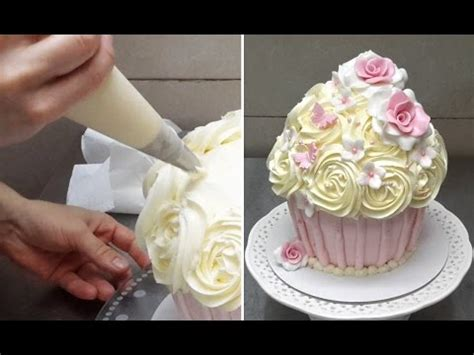 how to make a huge cupcake decorated with buttercream
