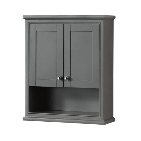 wyndham collection deborah            bathroom storage wall cabinet  dark