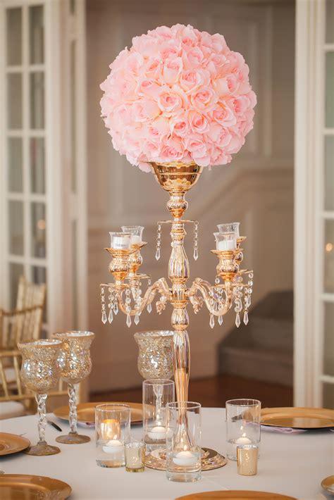 Gold Candelabra Pink Rose Wedding Reception Centerpiece Gold Centerpieces Wedding Reception