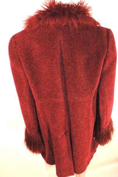 wine colored coat rue s wine colored coat with marabou collar and cuffs