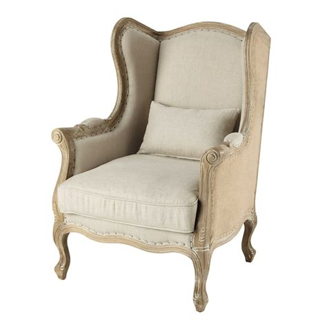 linen armchairs linen and jute wing armchair manoir maisons du monde