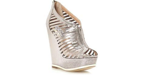 Wedges Jm 30 1 steve madden wresse smpatent high wedge sandals in metallic lyst