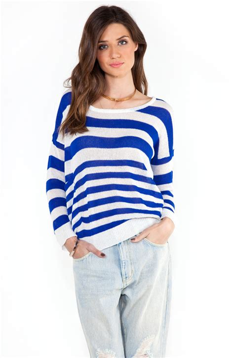Hq 16712 Stripe Knit Sweater sweater edgy shop for sweater edgy on wheretoget