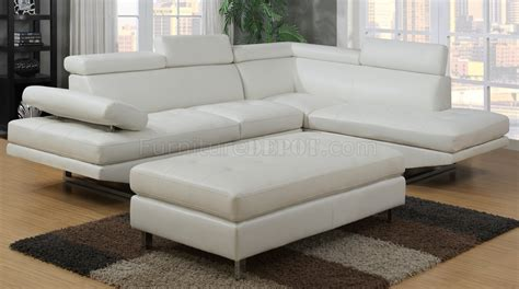 g147 sectional sofa in white bonded leather by