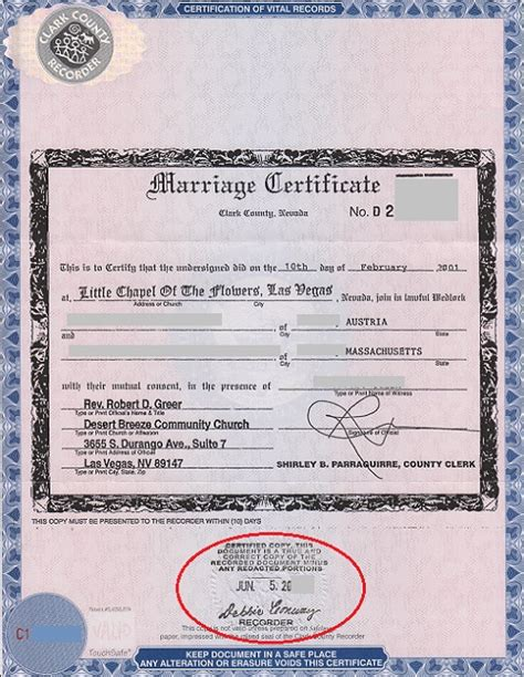 Nevada Marriage Records Free Sle Marriage Certificate Marriage Certificate Sle 7