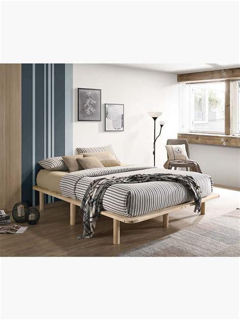 buy wooden platform bed base frame solid pine king single