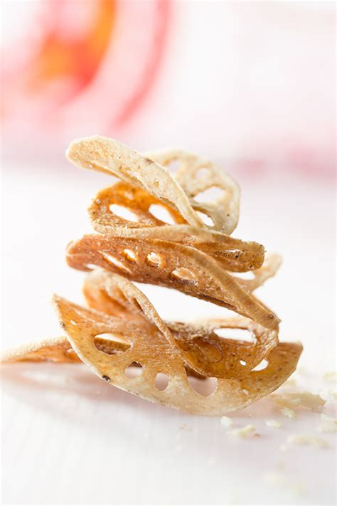 spiced lotus root chips salted and styled