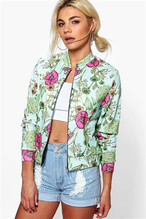 Bomber Flower New 1 floral jersey bomber at boohoo