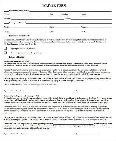 Sle Youth Waiver Forms 8 Free Documents In Word Pdf Youth Sports Waiver Form Template