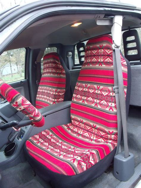 aztec print car seat covers 1 set of purple turquoise aztec print and the steering