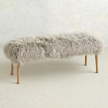 pink mongolian fur bench stool i furbish studio