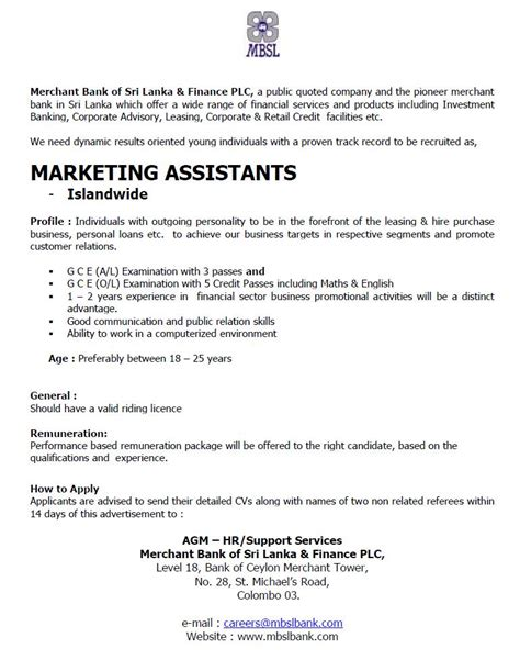 Marketing Assistant by Marketing Assistant Vacancy In Sri Lanka