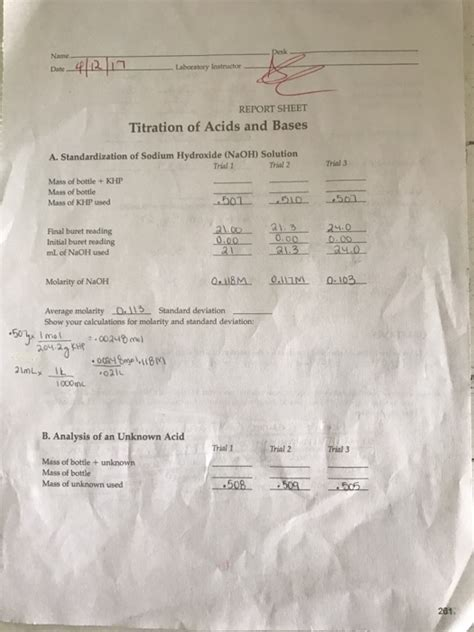 sle of khp contaminated with nacl name t laboratory instructor report sheet titrati