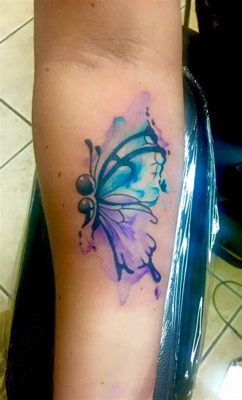 semicolon butterfly tattoo watercolor semi colon butterfly by shawn elliott at ikonic