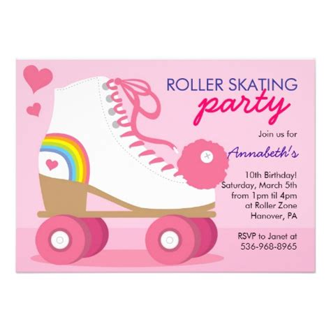 skating invitations templates roller skating birthday invitations 5 quot x 7