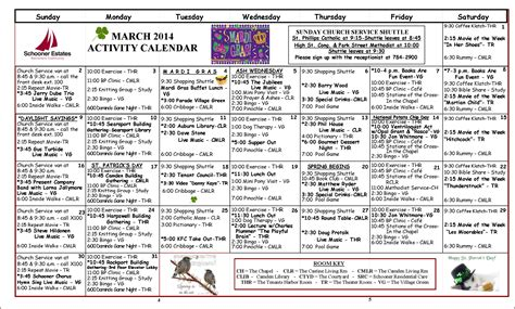 activity calendar march 2014