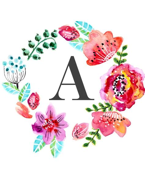 printable alphabet letters for decoration custom floral monogram wall art free nursery printables