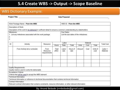 scope baseline template pmp chap 5 project scope management part 2