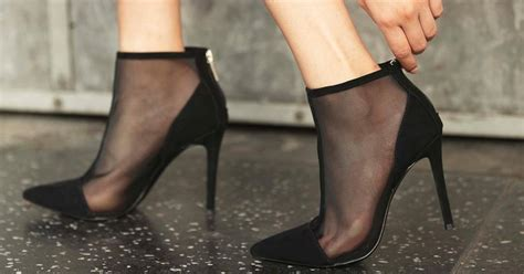 cashmere pointed toe suede mesh high heel ankle booties