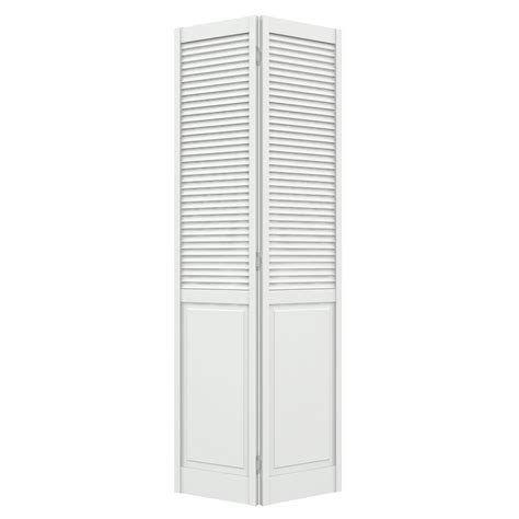 Panel Doors For Closets Shop Jeld Wen Primed Hollow Louver Panel Pine Bi Fold Closet Interior Door Common 24 In