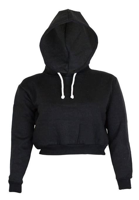 Jaket Crop Hodie Black noroze womens plain crop top hoodies at women s