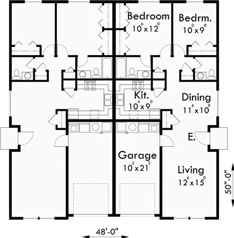 One Bedroom Duplex Plans by Floor Plan For D 449 One Story Duplex House Plans