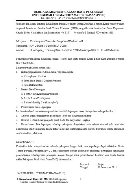 format berita acara penerimaan hasil pekerjaan berita acara pemeriksaan hasil pekerjaan