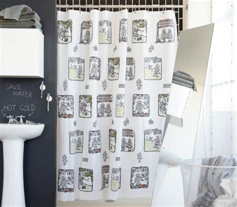 Bathroom Grey Patterned Ikat Shower by Toile Shower Curtain Rt Designers Collection Toile