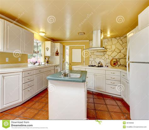 Ivory Kitchen Room With Stone Trim Wall Royalty Free Stock Image   Image: 38769696