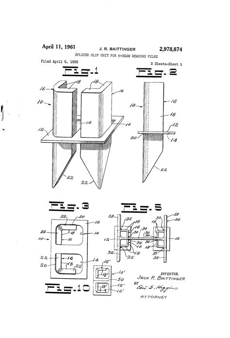 Drawing H Beam by Patent Us2978874 Splicer Clip Unit For H Beam Bearing