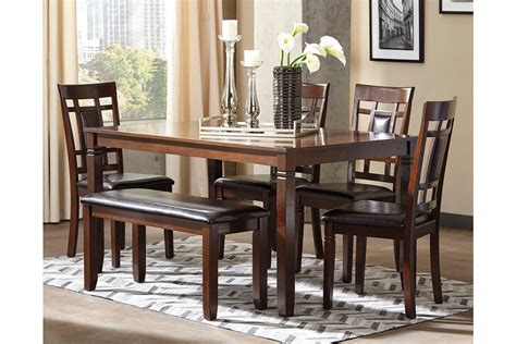 bennox dining room table  chairs  bench set    ashley furniture furniture mall