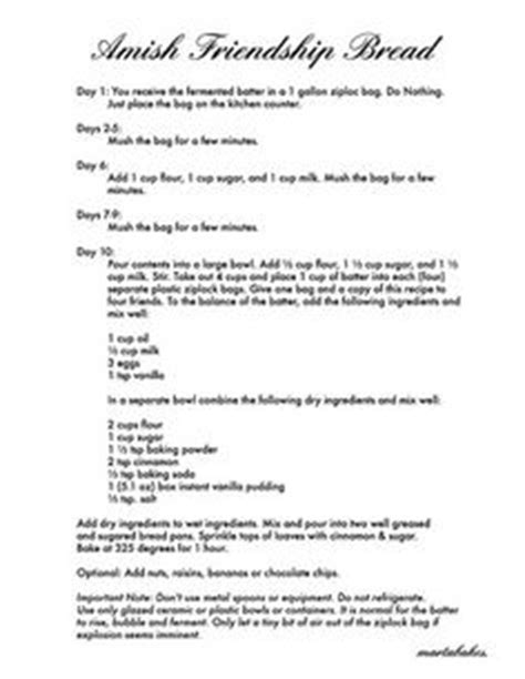 Amish Bread Recipe Print Out