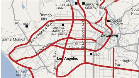 map of los angeles with freeways l a s forgotten freeways la times