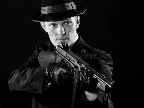 film gangster prohibition like a chicago gangster in black and white stock image