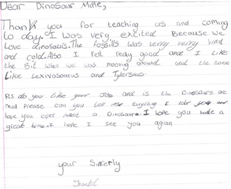 Thank You Letter Ks2 Writing A Thank You Letter Ks2 Reception Class Sends In Thank You Note To Everything Dinosaur